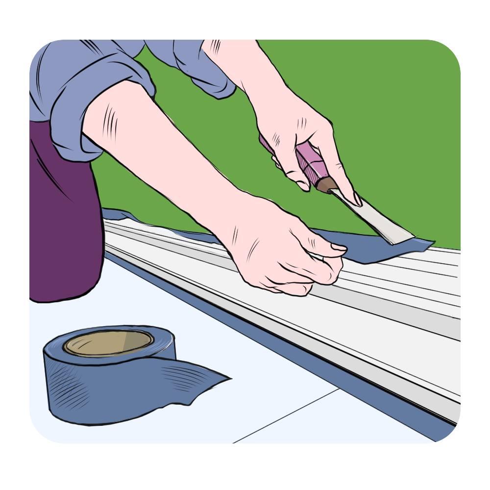 applying overhanging tape to skirting