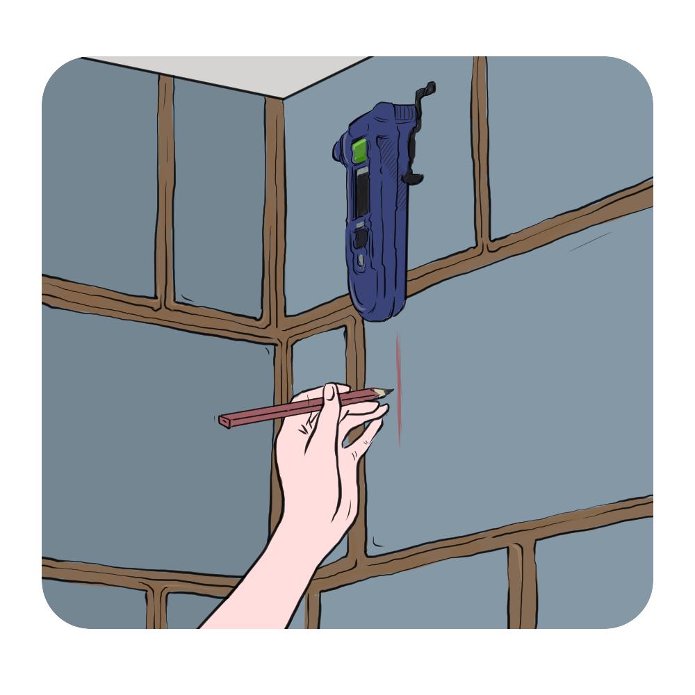 marking vertical plumb line