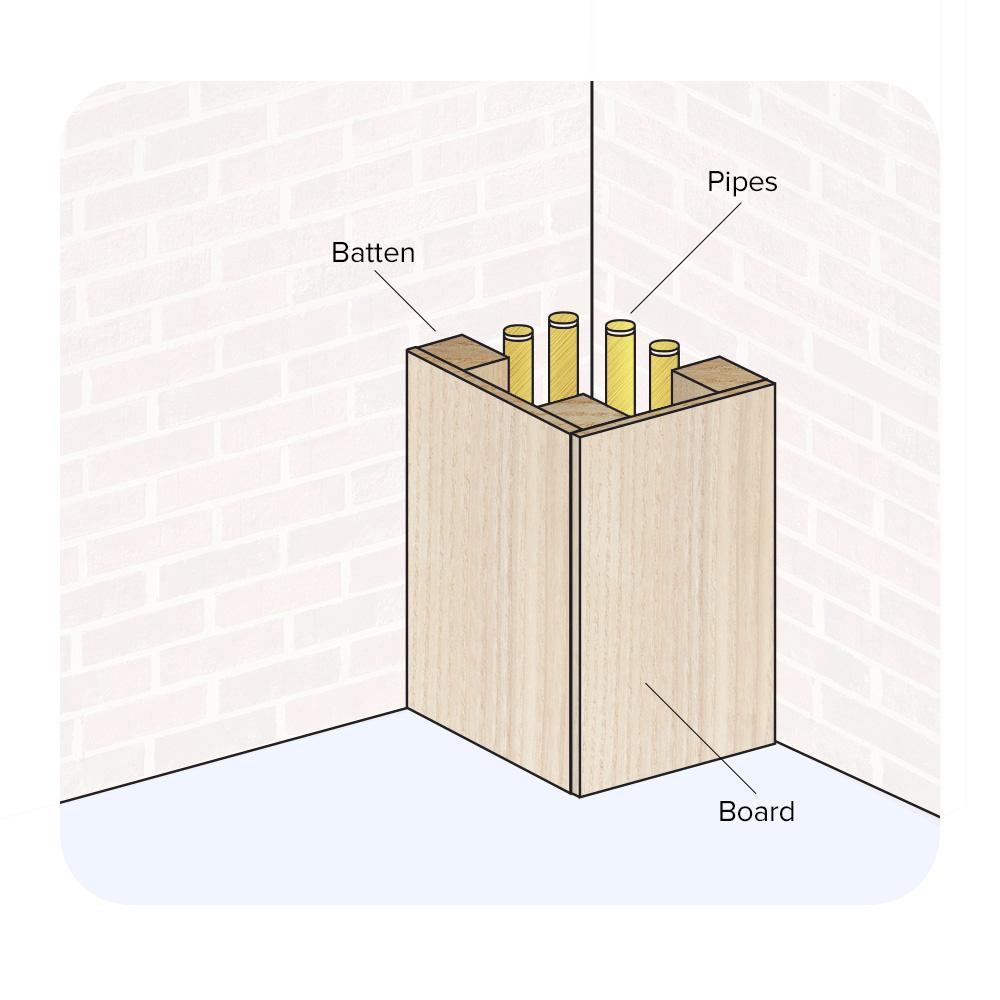 boxing-in corner pipes