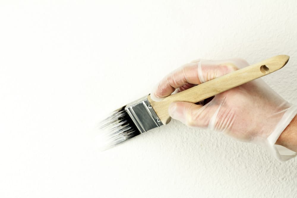painting exterior wall with white paint